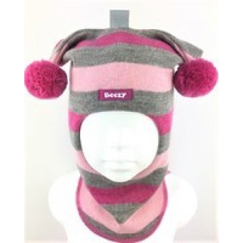 Žaisminga, dryžuota kepurė-šalmas su vilna mergaitei 1406/35