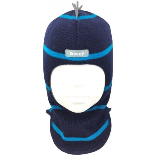 Tamsiai mėlyna, dryžuota kepurė-šalmas su vilna berniukui