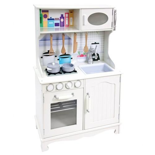 Balta medinė virtuvėlė su priedais