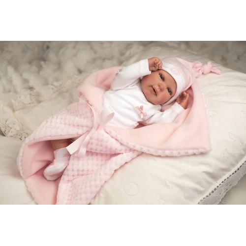 Reborn lėlė su rožiniu pleduku, 45 cm