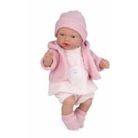 Verkiantis kūdikėlis su zuikiu ant suknytės, 28 cm