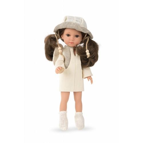 Lėlytė Carole su lininiais rūbeliais, 36 cm