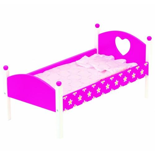Mediinė rožinė lėlės lovytė su patalyne