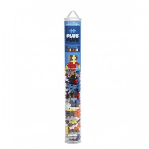 Plus Plus konstruktorius, Mini bazinių spalvų plastikinis vamzdelis, 100 vnt