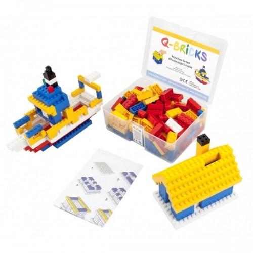 Q-Bricks rinkinys - Žvejo namelis+Taupyklė, 207 vnt